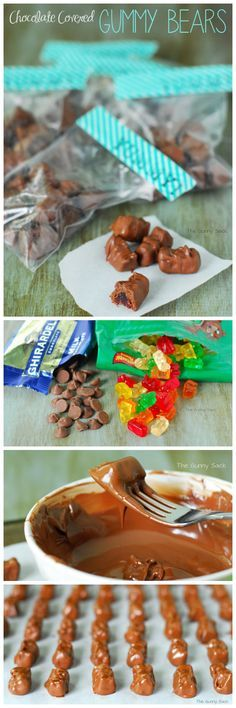 """Chocolate Covered Gummy Bears...these things are awesome! Put them in small bags with """"Yummy"""" labels."""