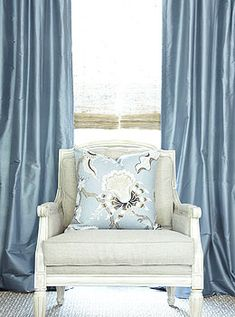 Custom Curtains and Window Treatments on Sale at DrapeStyle. Save up to Off The Silk and Linen Drapes House and Garden Called Beautifully Made to Order. Silk Curtains, Blue Curtains, Drapery, Traditional Curtains, Custom Curtains, Soft Furnishings, Decoration, Interior Design, Design Room