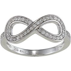 La Preciosa Sterling Silver Cubic Zirconia Infinity Ring ($28) ❤ liked on Polyvore featuring jewelry, rings, accessories, acessorios, anillos, wide band rings, infinity band ring, wide rings, infinity rings and cubic zirconia rings