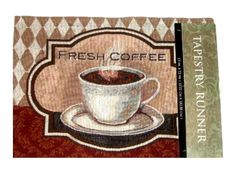 Coffee Cup Tapestry Kitchen Table Runner $19.95