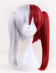Morvally Long Straight Ponytail Wig Grey White Dark Red Two Jaw Claws Ponytails Hair for Anime Cosplay Costume Halloween Wigs Cosplay Anime, Todoroki Cosplay, Cosplay Outfits, Halloween Cosplay, Cosplay Costumes, Double Ponytail, Ponytail Wig, Long Ponytails, Kawaii Wigs