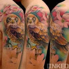 Owl tattoo with flowers