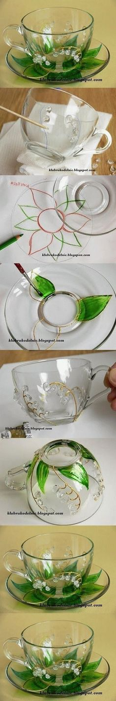 DIY Floral Painted Glass Cup Set: