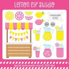 Pink Lemonade Stand-Digital Clipart (LES.CL15) – Lemon Elf Studio
