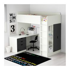 STUVA Loft bed combo w 3 drawers/2 doors - white/black - IKEA