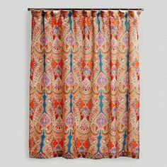 Craft Room curtain. World Market Shower Curtain. Venice Paisley