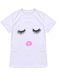Plus Size Casual 3D Eyelash Lip Printed Women Cotton T-Shirt