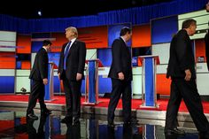 """DETROIT 3/3/2016 From left: Senator Marco Rubio, Donald J. Trump, Senator Ted Cruz and Gov. John Kasich at a Republican presidential debate. During the debate, Mr. Trump addressed innuendo about his """"small hands."""" Richard Perry/The New York Times"""