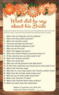 What did he say about his Bride Bridal Shower Game