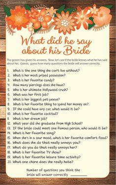 Fall Bridal Shower Dress For Bride Party Ideas 50 Super Ideas Bridal Party Games, Wedding Shower Games, Bridal Shower Party, Wedding Games, Bridal Shower Invitations, Wedding Tips, Wedding Showers, Baby Showers, Bride Shower