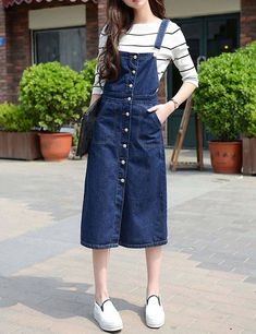 Korean Girl Fashion, Korean Street Fashion, Cute Fashion, Asian Fashion, Modest Fashion, Fashion Dresses, Fall Fashion, Long Skirt Fashion, Modest Dresses