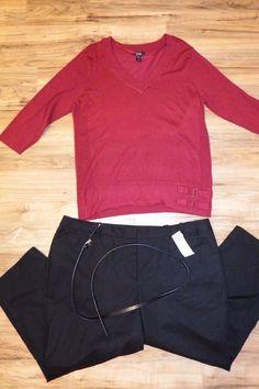 Sz 3X womans clothing lot plus size Knit Top 24W black Pants Style&co Charter  #Styleco