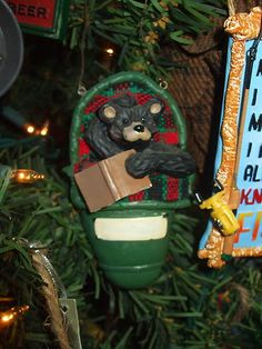 BLACK BEAR IN SLEEPING BAG TO PERSONALIZE LODGE LOOK CHRISTMAS TREE ORNAMENT on eBay