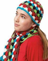 Beginner Crochet Hat and Scarf Set. Great project for the girls to make their own set.