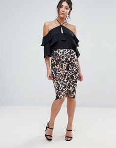 Jessica Wright Asymmetric Leopard Print Skirt - Multi