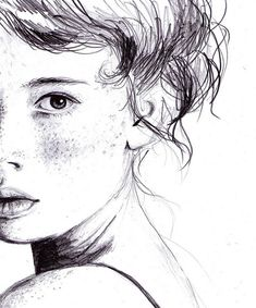 """This drawing popped out at me while scrolling through the """"top pins"""" on the art page. Who was the artist? Is the girl still alive? How long did the piece take to complete? Pencil Portrait, Portrait Art, Art And Illustration, Drawing Sketches, Art Drawings, Face Sketch, Drawing Faces, Art Visage, Arte Sketchbook"""
