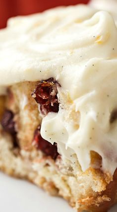 """""""Christmas Morning Cinnamon Rolls"""" with Cranberries and Rich Orange-Vanilla Bean Frosting"""