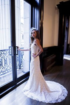 Melissa Gentile Fall 2015 couture bridal collection style # Valencienne. lace wedding dress. French lace bridal gown. couture bridal gown. mermaid wedding dress. lace mermaid dress.  www.melissagentile.com