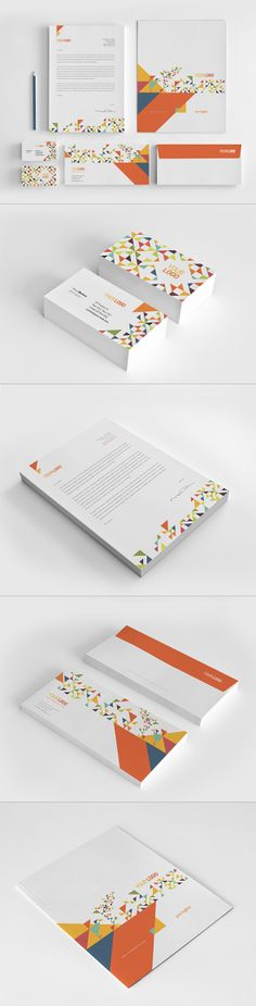 Colorful Triangles Stationery Pack. Download http://graphicriver.net/item/colorful-triangles-stationery-pack/7550531?ref=abradesign #design #stationery
