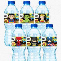 Superheroes Birthday Party Water Bottle Labels- Superman Wonder Woman Hulk Spiderman Captain America Batman -DIY Printable Instant Download by mummytofu