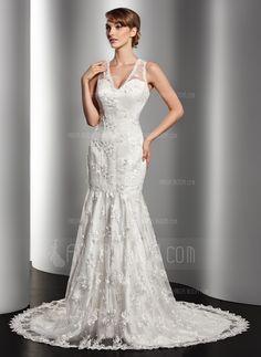 Свадебные платья - $223.99 - Раструб/Платье-русалка V-образный Суд поезд Атлас кружева Свадебные Платье с Бисер (002014512) http://amormoda.ru/Trumpet-Mermaid-V-neck-Court-Train-Satin-Lace-Wedding-Dress-With-Beading-002014512-g14512