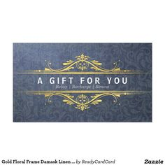 Gold Floral Frame Damask Linen Gift Certificate Business Card