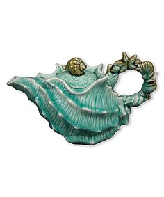 Another great find on #zulily! Seafoam Shell Teapot by Blue Sky #zulilyfinds