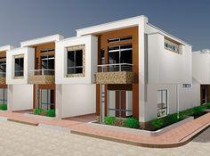 Small House Design, Modern House Design, Home Building Design, Building A House, Compound House, Townhouse Exterior, Duplex Plans, Townhouse Designs, House Map
