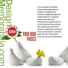 Trio Bud Vases designed by Angelo Mangiarotti // #DesignMemorabilia #Italy #kichen #kitchenware #home #homedecor #shop #gift #creative #design #vase #flowers #AngeloMangiarotti