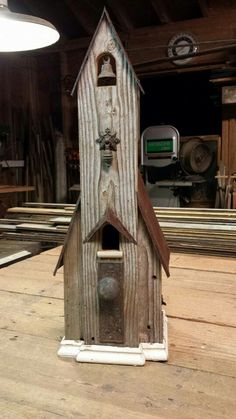 Little church birdhouse... find this one and more on facebook and etsy at Recycling is for the Birds