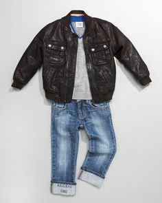 Vintage Leather Jacket, V-Neck Sweater & Logo Cuff Denim Jeans by Armani Junior at Neiman Marcus.