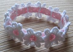 Number 59 Crochet Pattern Baby Headband With White Daisies in sizes 0-3, 3-6, 6-12 Months