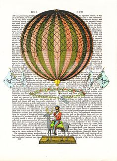 Vintage Hot Air Balloon... i love the floral wreath