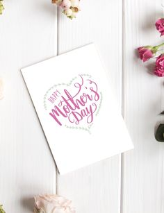 A modern and simple Mothers Day card in our hand-drawn calligraphy. The card is blank inside for you to write your own special message. Check out our full range of Mothers Day cards.