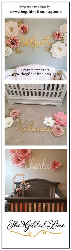 These large gold nursery name signs look stunning with these wall flowers! Wall Flowers, Paper Flower Wall, Flower Wall Decor, Paper Flowers, Gold Nursery, Nursery Name, Nursery Signs, Name Signs, Kids Room
