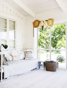 """In the old family farm of the Mårtensson family, the """"darkest Småland"""" feels long-lived … Door Protection, Relaxing Colors, Hacienda Style, Swedish House, Outside Living, Pergola Designs, Wall Spaces, Porch Swing, House Doctor"""