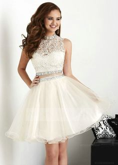 Elegant Ball Gown High Neck Appliqued Bodice Short Tulle White 2 Piece Prom Cocktail Party Dress with Beadings WNHD0740