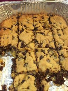 Lazy Chocolate Chip Cookie Bars *****  1 stick of butter  //  2 eggs  //  1 yellow cake mix // 1 bag of semi-sweet chocolate chips   *******  How to make it:  1. Melt butter in bowl   2. Whisk together with eggs   3. Stir in cake mix   4. Mix in chocolate chips    5. Press into greased pan  6. Bake at 350– 9×13 for 20 min, smaller pans 25-28 min.  ( shared via recipe page on Facebook )