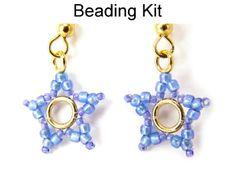 Beaded Little Star Earrings Beading Tutorial Pattern Instruction Directions Beading Kit