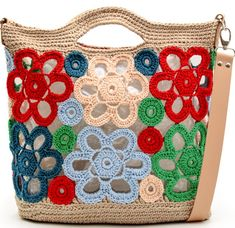Crochet Handbags, Crochet Purses, Handmade Handbags, Handmade Bags, Bordados E Cia, Market Bag, Knitted Bags, Cloth Bags, Basket Weaving