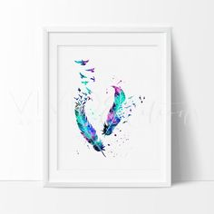Birds & Feathers Watercolor Art Print
