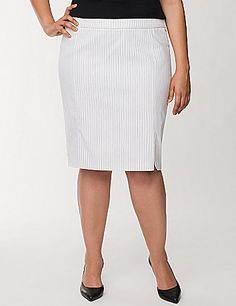 The classic pairing of black & white pinstripes lends work-to-weekend panache to our best-loved pencil skirt. A saucy leg slit keeps the look modern, with a flattering wide waistband with piping trim for a perfectly-polished finish. Fully lined. Hidden back zipper with hook & eye closure.  lanebryant.com