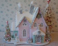 PINK Putz House  Lighted Christmas Village by IllusiveSwan on Etsy