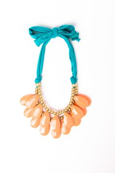 Ruffled Statement Necklace - drop beads + jersey knit. Love the colors.