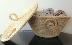 DIY coiled sisal rope basket with lid