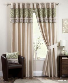 Green Lime and Yellow Curtains Coniston Green Leaf Curtains, Faux Silk Curtains, Yellow Curtains, Pleated Curtains, Striped Curtains, Modern Curtains, Lined Curtains, Light Green Bedrooms, Ready Made Eyelet Curtains