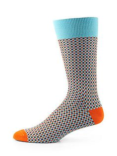 Saks Fifth Avenue Collection Checkerboard Stretch Cotton Socks