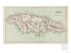 Map of Jamaica Giclee Print at Art.com