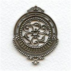 Ornate Centerpiece Stamping Rare Vintage Oxidized Silver (1)