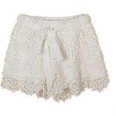 Lace Chiffon  Elastic Waist Hem Crochet Drawstring Shorts ($10) ❤ liked on Polyvore featuring shorts, drawstring shorts, crochet shorts, draw string shorts, lacy shorts and lace shorts